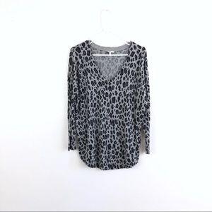 Joie Leopard Print Wool Cashmere Blend Sweater